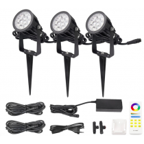 FUTC08A MiLight 2.4G DC 24V 6W RGB+CCT Waterproof LED Garden Light + Power Cable Kit Ourdoor Lighting Gear